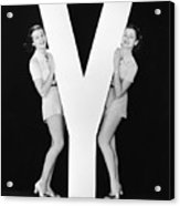 Women Posing With Huge Letter Y Acrylic Print