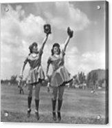 Womens Baseball League Twin Players Acrylic Print