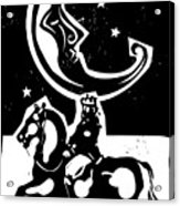 Woodcut Style Moon And Mounted King On Acrylic Print