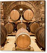 Wooden Barrels In Wine Cellar Acrylic Print