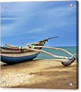 Wooden Catamaran By The Sea Shore Acrylic Print