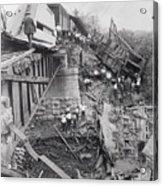 Workers On Train Wreck Debris Acrylic Print