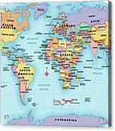 World Map, Continent And Country Labels Acrylic Print