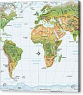 World Map, Physical Acrylic Print
