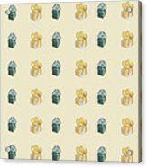 Yellow And Green Present Pattern Acrylic Print
