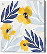 Yellow And Navy 1- Floral Art By Linda Woods Acrylic Print