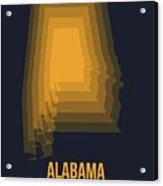 Yellow Map Of Alabama Acrylic Print
