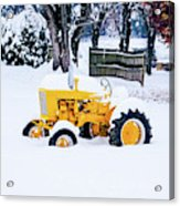 Yellow Tractor In The Snow Acrylic Print