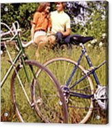 Young Adults Teenagers Field Date Bikes Acrylic Print