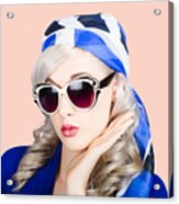 Young Beautiful Retro Girl In Glasses Acrylic Print