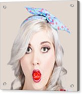 Young Beautiful Woman Holding A Bottle Cap In A Mouth Acrylic Print
