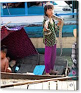 Young Girl With Snake 2, Cambodia Acrylic Print