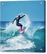 Young Male Surfer Surfing In The Water Acrylic Print