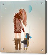 Young Mother With A Child Walking Acrylic Print