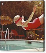 Young Woman With Blindfold Balancing On Acrylic Print