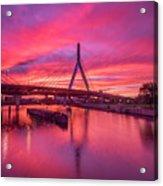 Zakim Bridge Sunset Acrylic Print