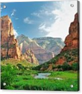 Zion Canyon, With The Virgin River Acrylic Print