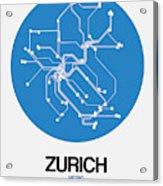 Zurich Blue Subway Map Acrylic Print