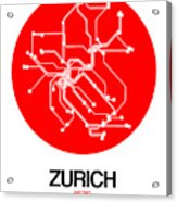 Zurich Red Subway Map Acrylic Print