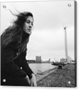 Attractive Young Woman At Derelict Glasgow Docks Acrylic Print