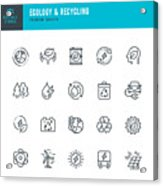 ECOLOGY & RECYCLING - set of line vector icons. Editable stroke. Pixel Perfect. Set contains such icons as Climate Change, Alternative Energy, Recycling, Green Technology. Acrylic Print