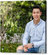 Portrait Of Young Asian Man Acrylic Print