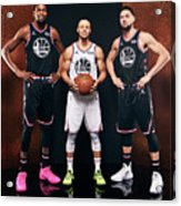 Stephen Curry, Kevin Durant, and Klay Thompson Acrylic Print