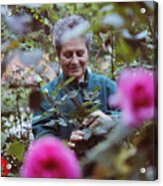 Woman With Flowers In The Garden Acrylic Print