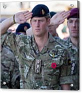 British Troops In Kandahar Participate In A Remembrance Sunday Service Acrylic Print