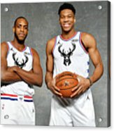 Giannis Antetokounmpo and Khris Middleton Acrylic Print