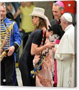 Pope Francis celebrates the Jubilee of the 'World of Travelling Shows' Acrylic Print