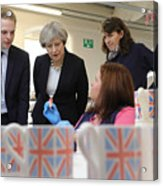 Theresa May Visits Stoke-On-Trent Central Ahead Of Thursday's By-election Acrylic Print