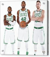 Al Horford, Kyrie Irving, and Gordon Hayward Acrylic Print
