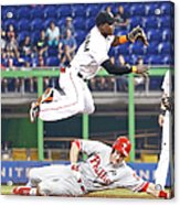 Adeiny Hechavarria and Chase Utley Acrylic Print