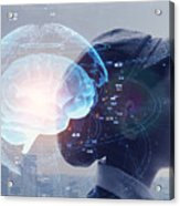 AI (Artificial Intelligence) concept. Education concept. Acrylic Print