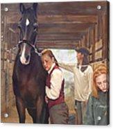Aisle Hug Horse Show Barn Candid Moment  Acrylic Print