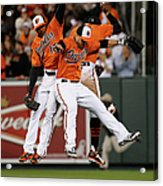Alejandro De Aza, Steve Pearce, And Adam Jones Acrylic Print