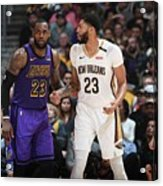 Anthony Davis and Lebron James Acrylic Print
