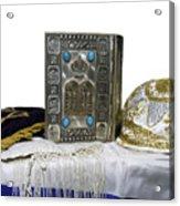 Antique Jewish Bible, Yarmulka & Tallis Acrylic Print