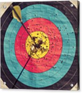 Archery target with arrow in the centre Acrylic Print