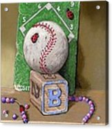 B is for Beads Bugs and a Ball for the Bases Acrylic Print