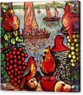 Birds and immigrants in red Acrylic Print