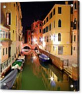 Boats in canal Acrylic Print