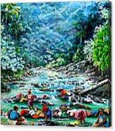 Caribbean Wash Day Acrylic Print