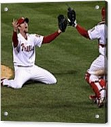 Carlos Ruiz And Brad Lidge Acrylic Print