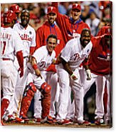 Carlos Ruiz, Ryan Howard, and Jimmy Rollins Acrylic Print