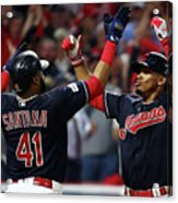 Carlos Santana and Francisco Lindor Acrylic Print