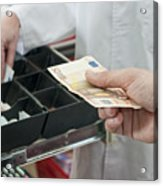 Cash In Hand Of Customer Paying In Supermarket Acrylic Print