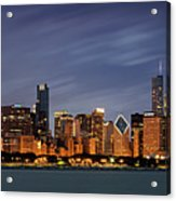 Chicago Skyline at Night Color Panoramic Acrylic Print