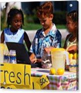 Children Selling Lemonade at Lemonade Stand Acrylic Print